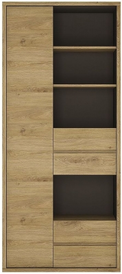 Shetland Bookcase - Tall Wide 1 Door 4 Drawer