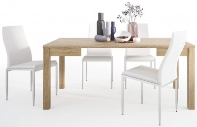 Shetland Oak Extending Dining Table and 4 Milan White Chairs