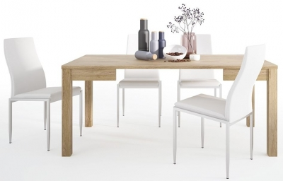 Shetland Oak Extending Dining Table and 6 Milan White Chairs