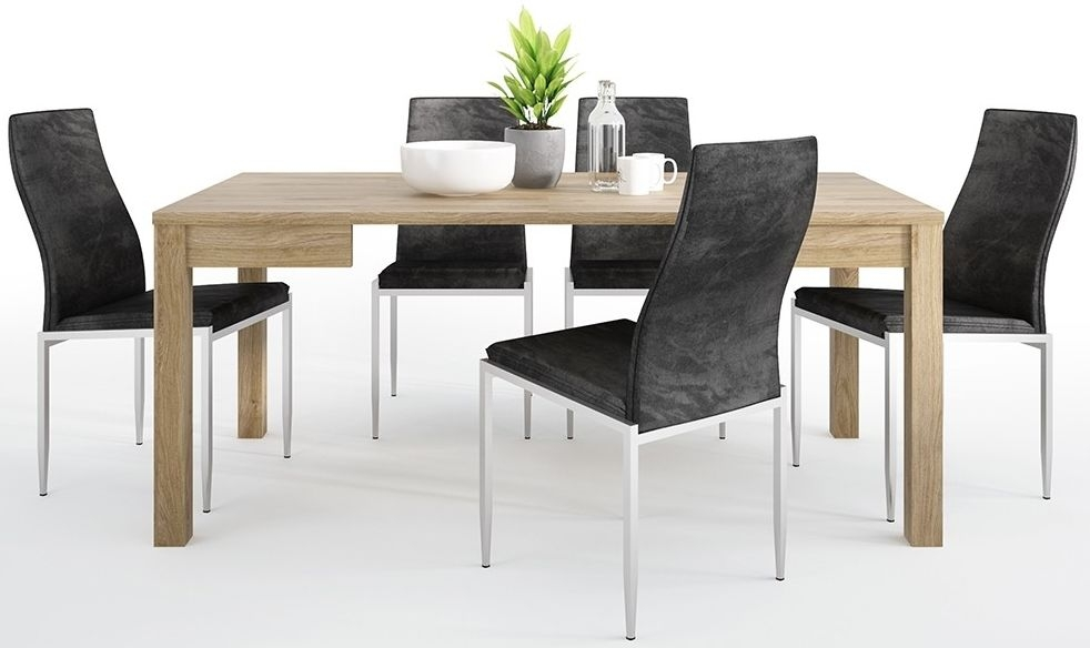 Shetland Oak Extending Dining Table and 6 Milan Black Chairs