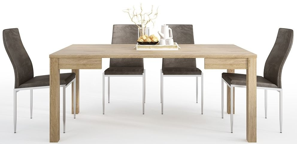Shetland Oak Extending Dining Table and 6 Milan Dark Brown Chairs
