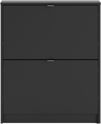 Shoes Matt Black 2 Tilting Door Shoe Cabinet