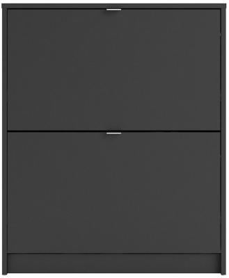 Shoes Matt Black 2 Tilting Door and 2 Layer Shoe Cabinet