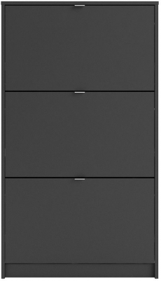 Shoes Matt Black 3 Tilting Door and 2 Layer Shoe Cabinet