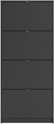 Shoes Matt Black 4 Tilting Door and 2 Layer Shoe Cabinet