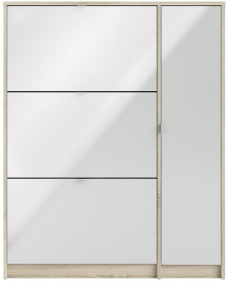 Shoes Oak and White High Gloss 3 Tilting Door Shoe Cabinet