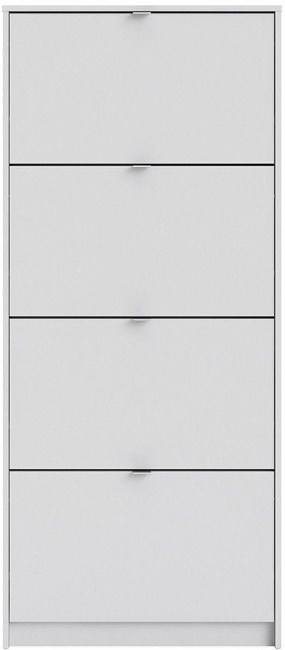 Shoes White 4 Tilting Door Shoe Cabinet