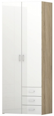 Space Oak and White High Gloss 2 Door 3 Drawer Wardrobe