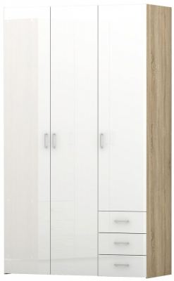 Space Oak and White High Gloss 3 Door 3 Drawer Wardrobe