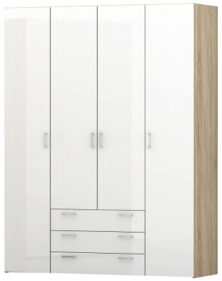 Space Oak and White High Gloss 4 Door 4 Drawer Wardrobe