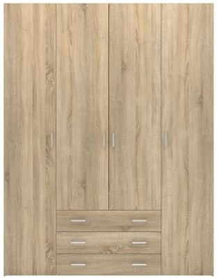 Space Oak 4 Door 3 Drawer Wardrobe