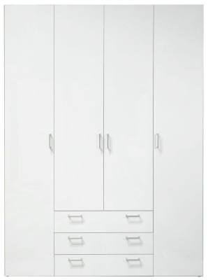 Space White 4 Door 4 Drawer Wardrobe