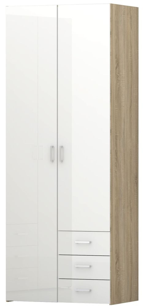 Space 2 Door Wardrobe - Oak and White High Gloss
