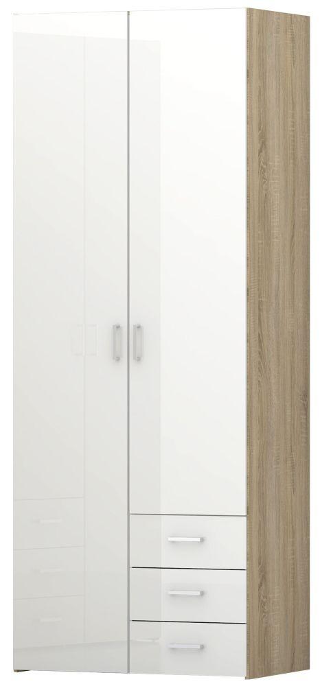 Space Oak and White High Gloss 2 Door 3 Drawer Wardrobe
