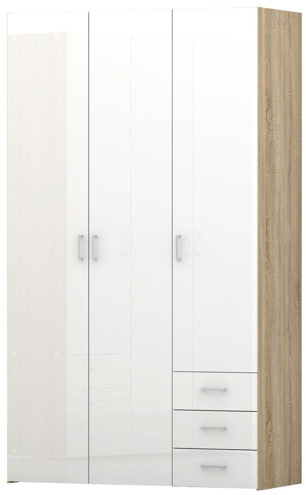 Space 3 Door Wardrobe - Oak and White High Gloss