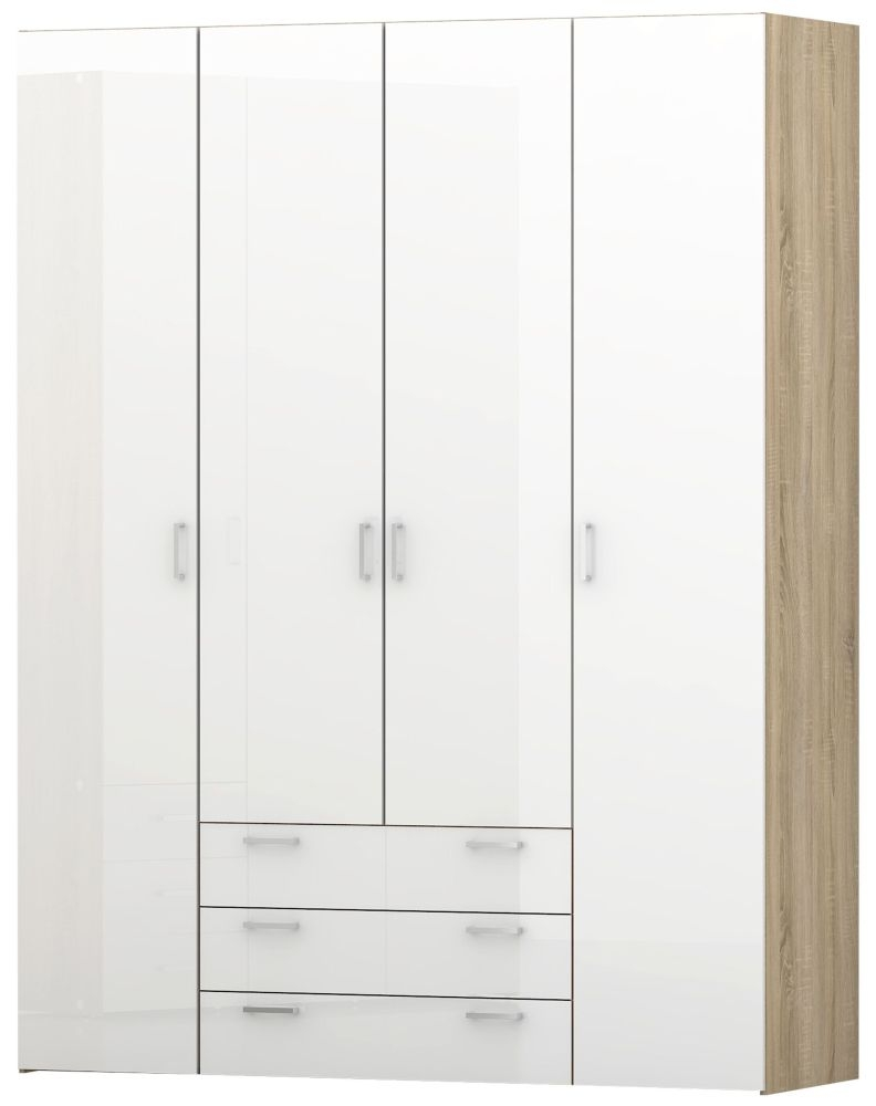 Space 4 Door Wardrobe - Oak and White High Gloss