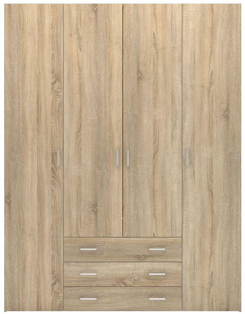 Space Oak 4 Door 3 Drawer Wardrobe