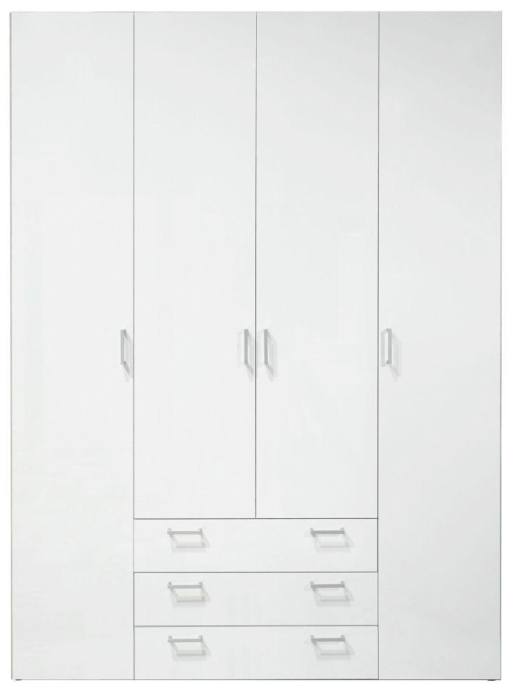 Space White 4 Door 4 Drawer Wardrobe