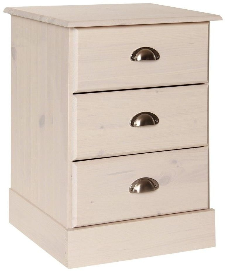 Terra Pine and Whitewash Stain Bedside Cabinet - 3 Drawer
