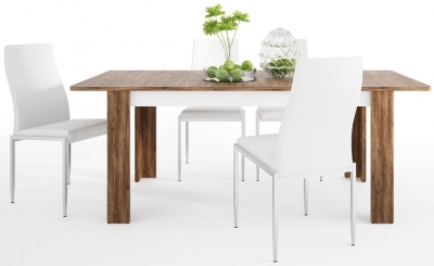 Toledo Extending Dining Table and 4 Milan White Chairs - Oak and High Gloss White