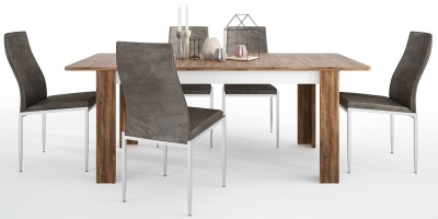Toledo Extending Dining Table and 6 Milan Dark Brown Chairs - Oak and High Gloss White