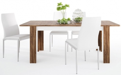 Toledo Extending Dining Table and 6 Milan White Chairs - Oak and High Gloss White