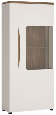 Toledo Right Hand Facing Display Cabinet - Oak and High Gloss White