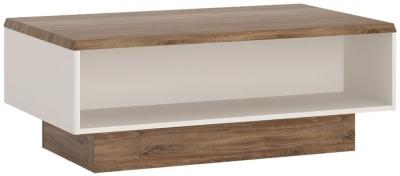 Toledo Wide Coffee Table - Oak and High Gloss White