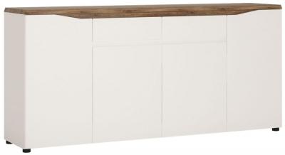 Toledo Wide Sideboard - Oak and High Gloss White
