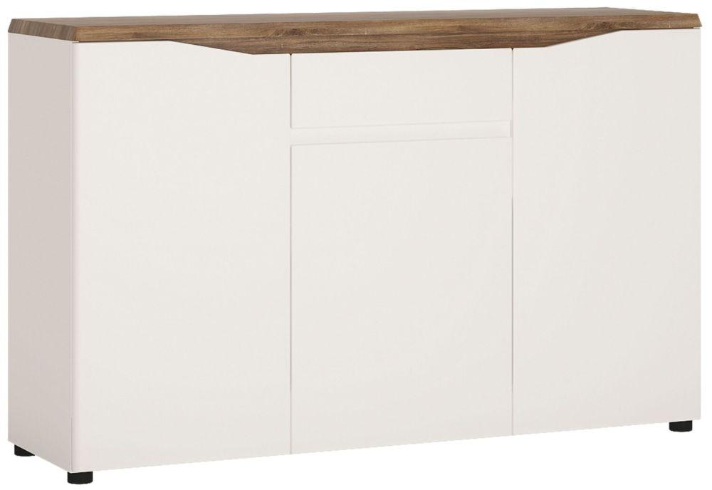 Toledo 3 Door Sideboard - Oak and High Gloss White