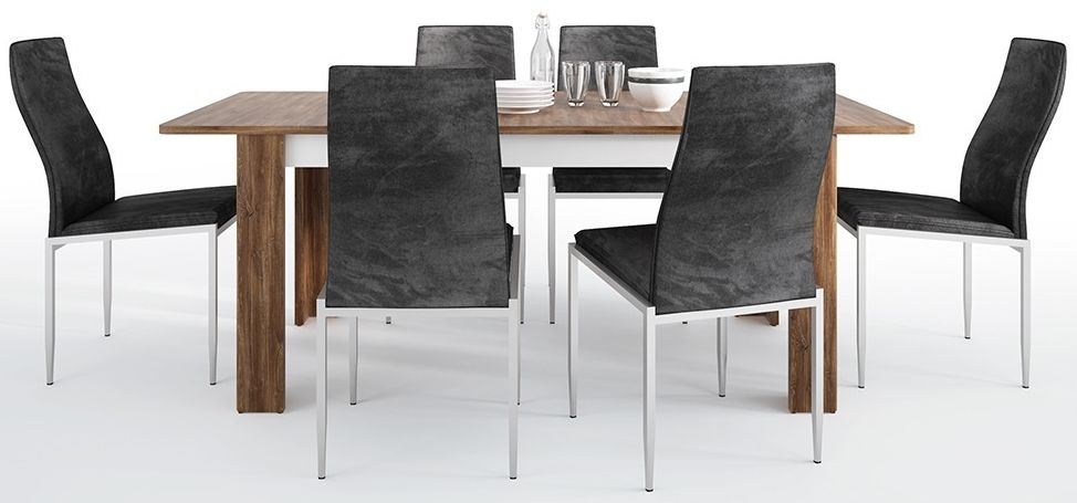 Toledo Extending Dining Table and 4 Milan Black Chairs - Oak and High Gloss White