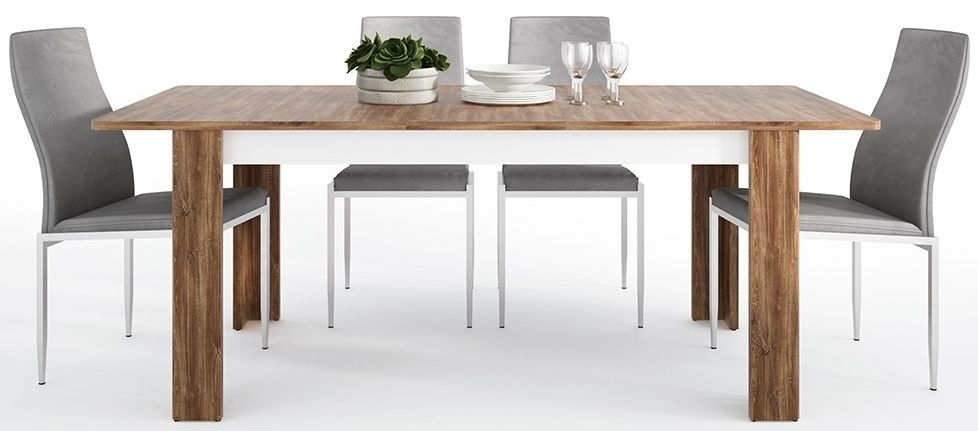 Toledo Extending Dining Table and 6 Milan Grey Chairs - Oak and High Gloss White