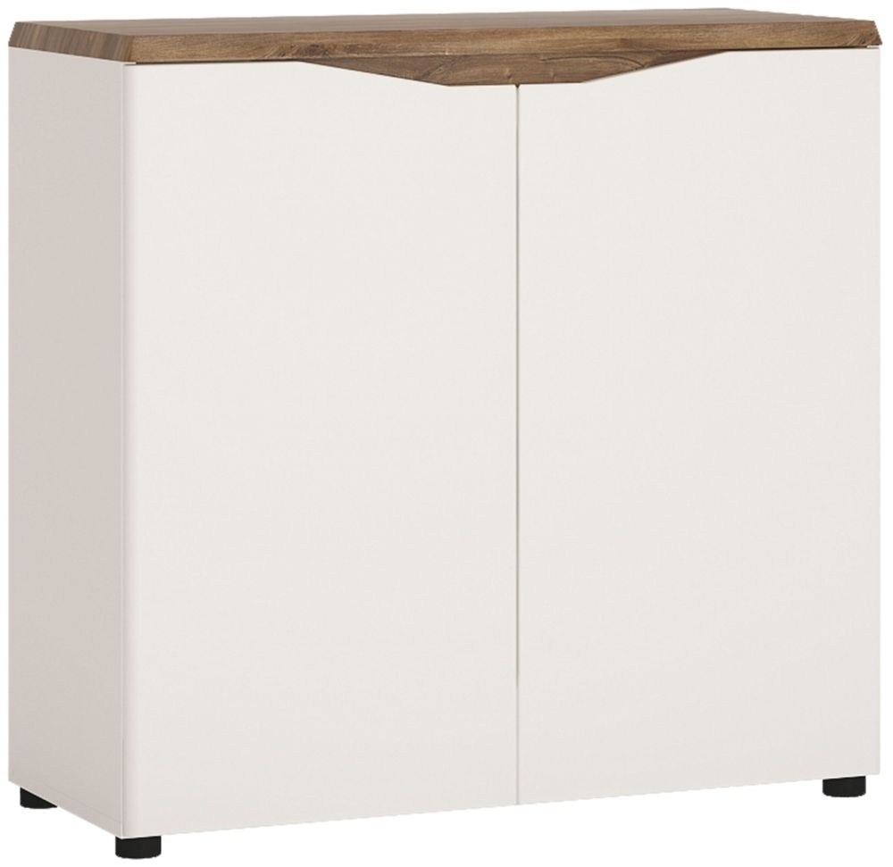 Toledo Narrow Sideboard - Oak and High Gloss White