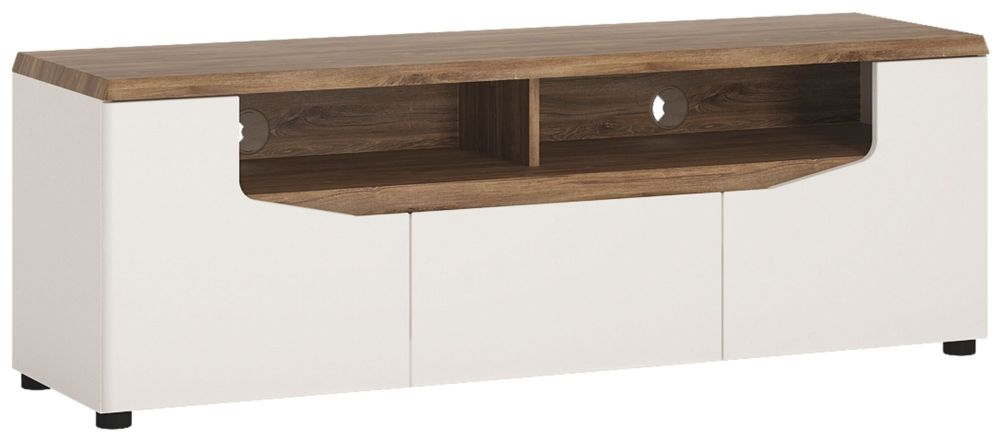 Toledo TV Unit - White High Gloss and Oak