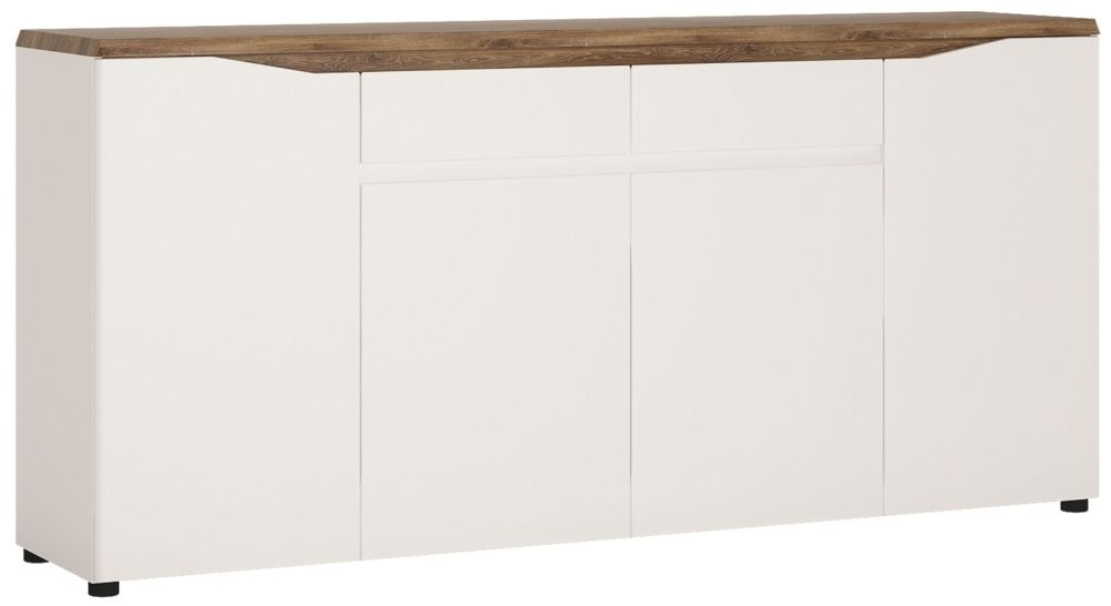 Toledo Wide Sideboard - Oak and High Gloss White