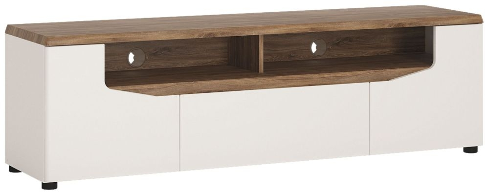 Toledo Wide TV Unit - Oak and High Gloss White