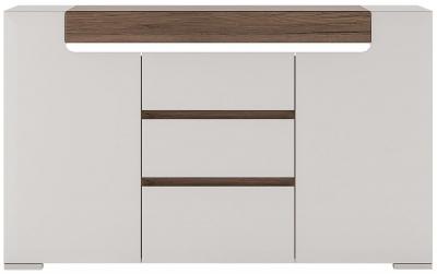 Toronto 2 Door Combi Sideboard - Sanremo Oak and High Gloss White