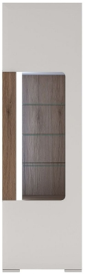 Toronto Glazed Tall Narrow Display Cabinet - Sanremo Oak and High Gloss White
