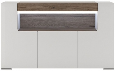 Toronto Sideboard - 3 Door Open Shelving with Plexi Lighting