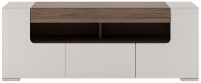 Toronto TV Cabinet - Sanremo Oak and High Gloss White