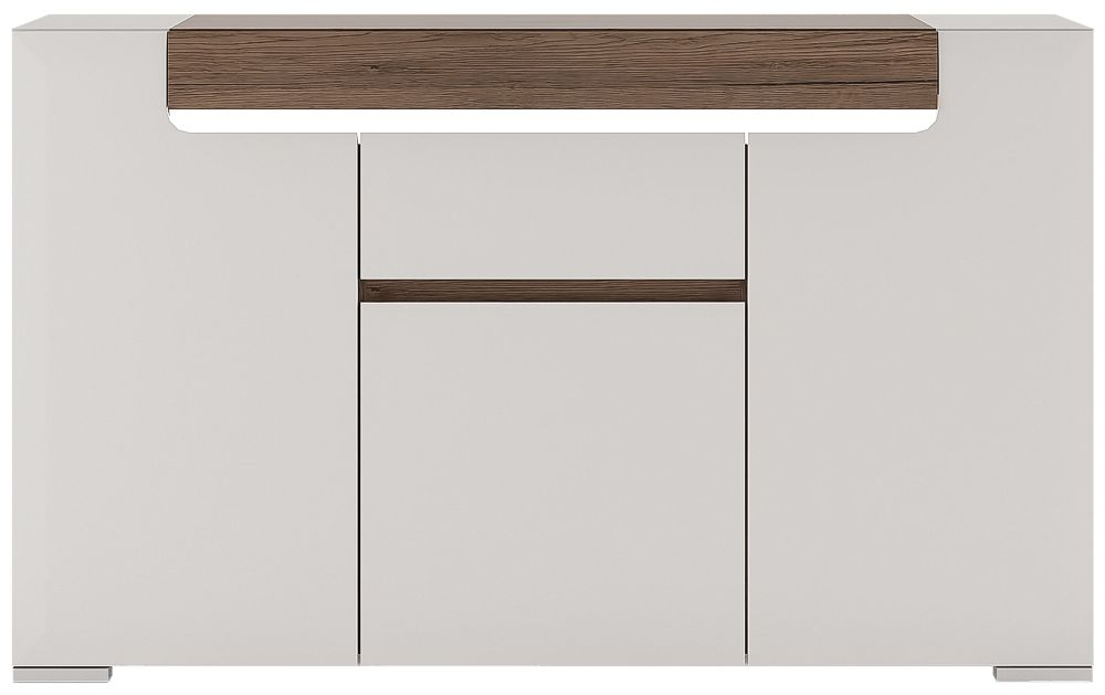 Toronto 3 Door Combi Sideboard - Sanremo Oak and High Gloss White