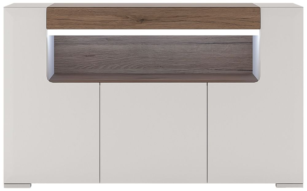 Toronto 3 Door Open Shelving Sideboard - Sanremo Oak and High Gloss White