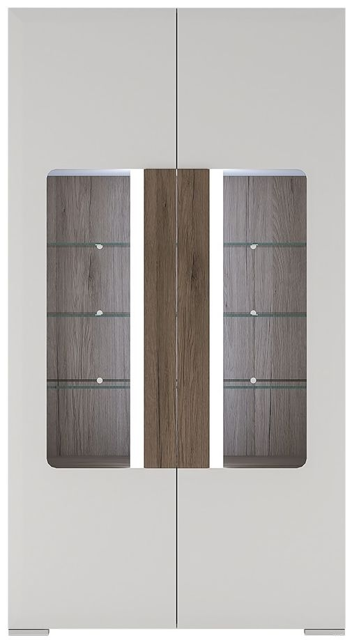 Toronto Glazed Display Cabinet - Tall Wide 2 Door with Internal Shelves and Plexi Lighting