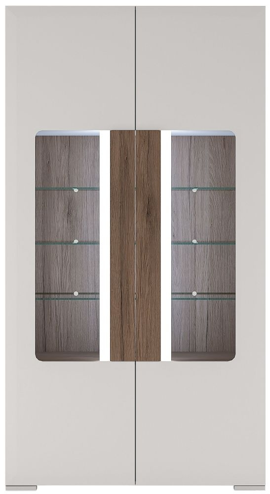 Toronto Glazed Tall Wide Display Cabinet - Sanremo Oak and High Gloss White