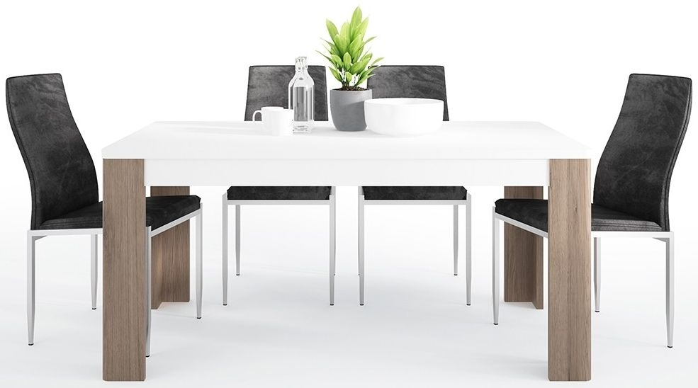 Toronto Dining Table and 4 Milan Black Chairs - Sanremo Oak High Gloss White