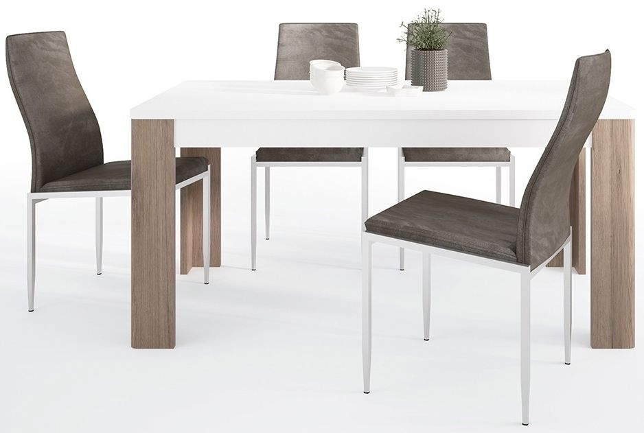 Toronto Dining Table and 4 Milan Dark Brown Chairs - Sanremo Oak and High Gloss White