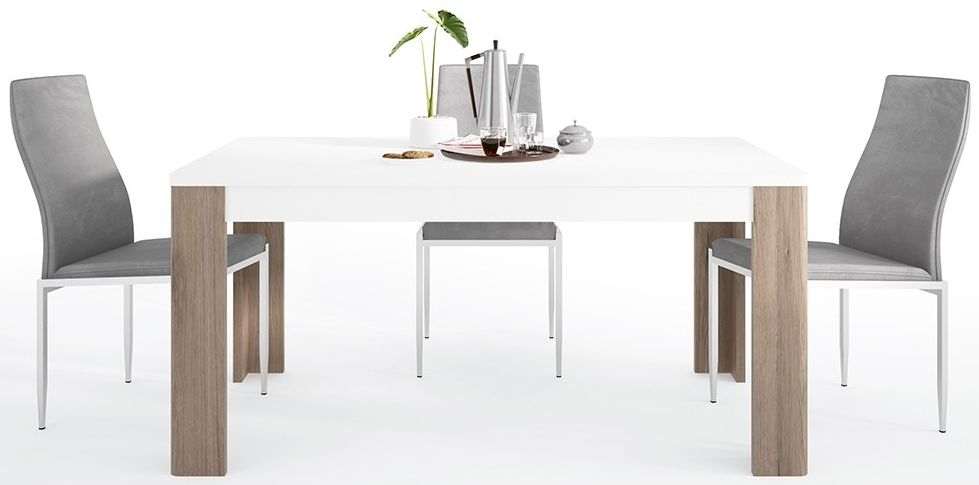 Toronto Dining Table and 4 Milan Grey Chairs - Sanremo Oak and High Gloss White