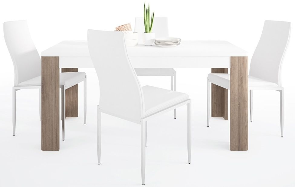 Toronto Dining Table and 4 Milan White Chairs - Sanremo Oak and High Gloss White