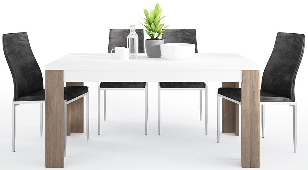 Toronto Dining Table and 6 Milan Black Chairs - Sanremo Oak and High Gloss White