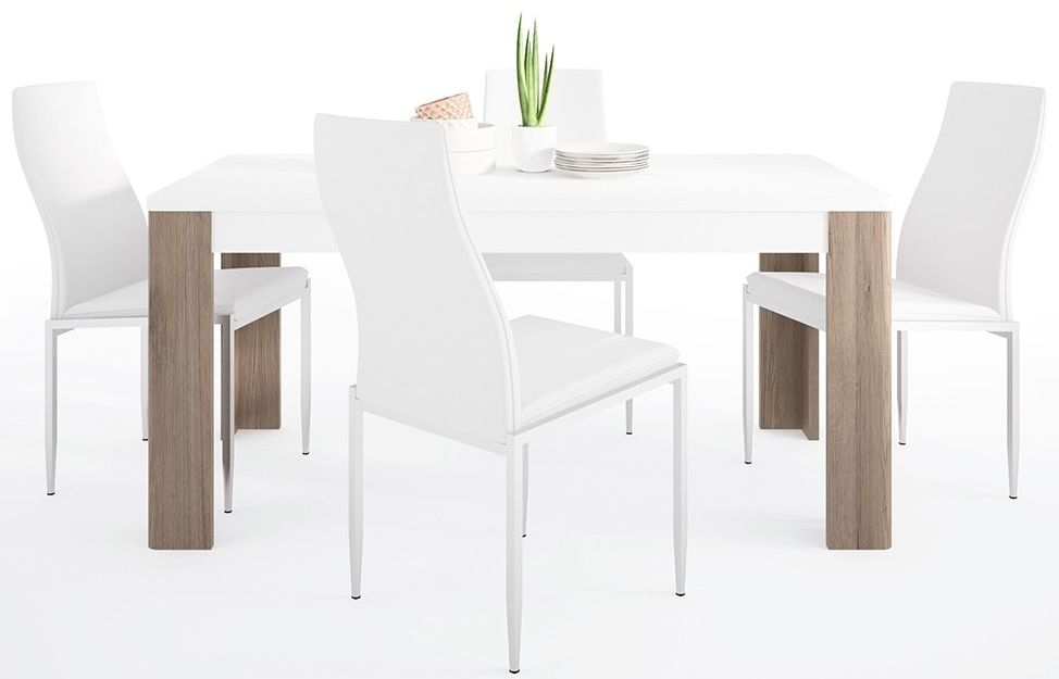 Toronto Dining Table and 6 Milan White Chairs - Sanremo Oak and High Gloss White